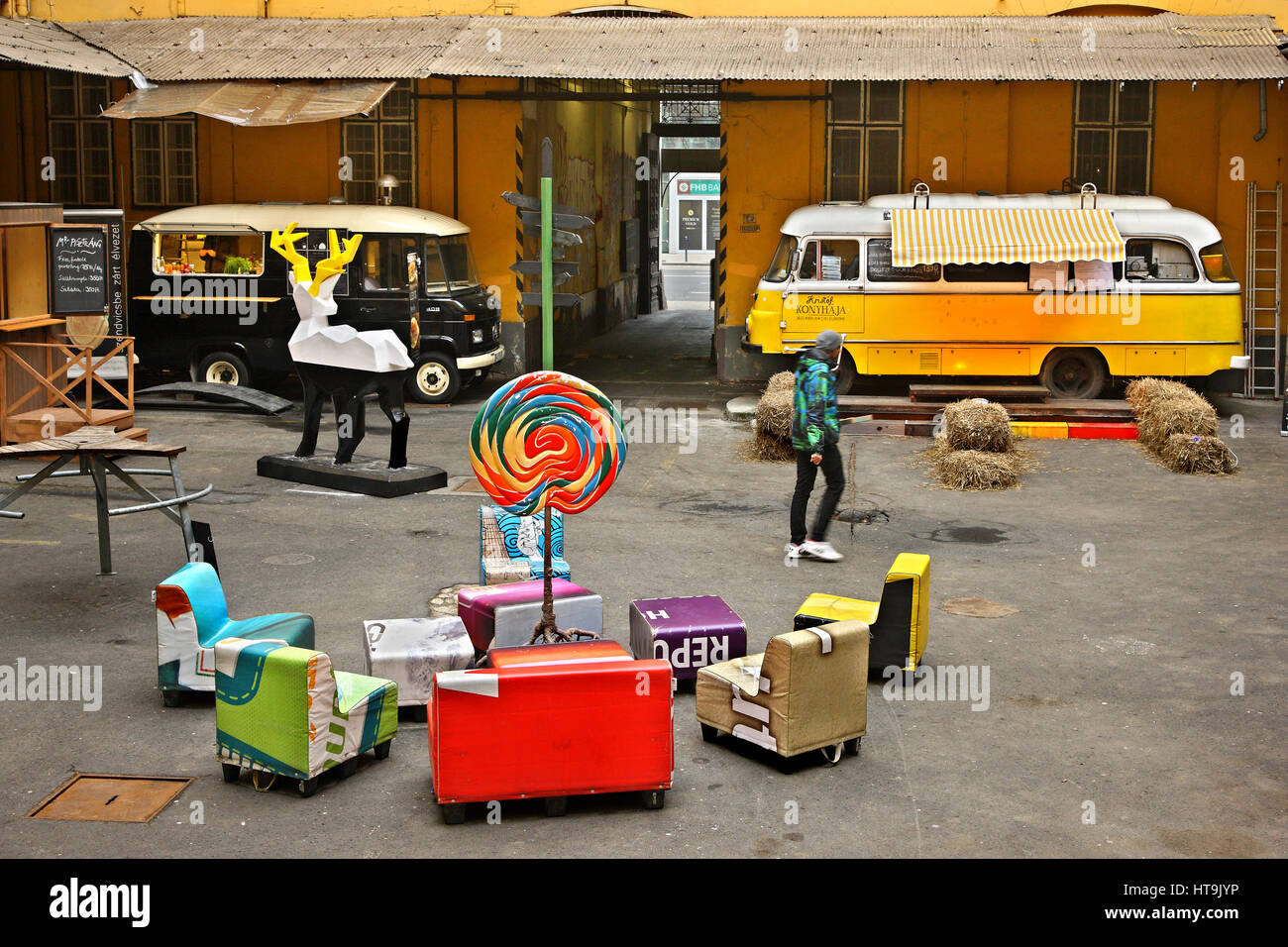 In Food Truck Udvar, an outdoor street food court, at Ferencvaros neighborhood (District 9), Budapest, Hungary - Stock Image