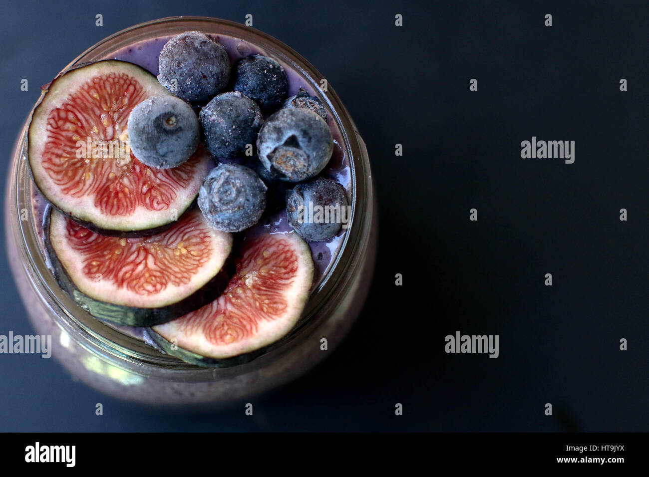 Healthy Blueberry and FIg Smoothie - Stock Image