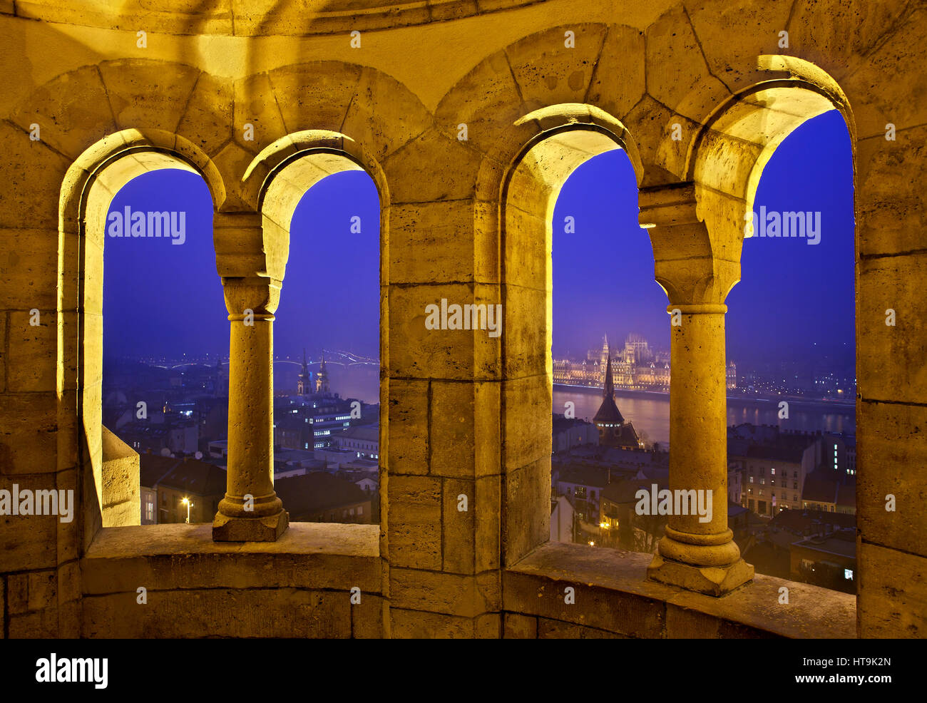 View of the Hungarian Parliament from 'Fisherman's Bastion', Budapest, Hungary. - Stock Image