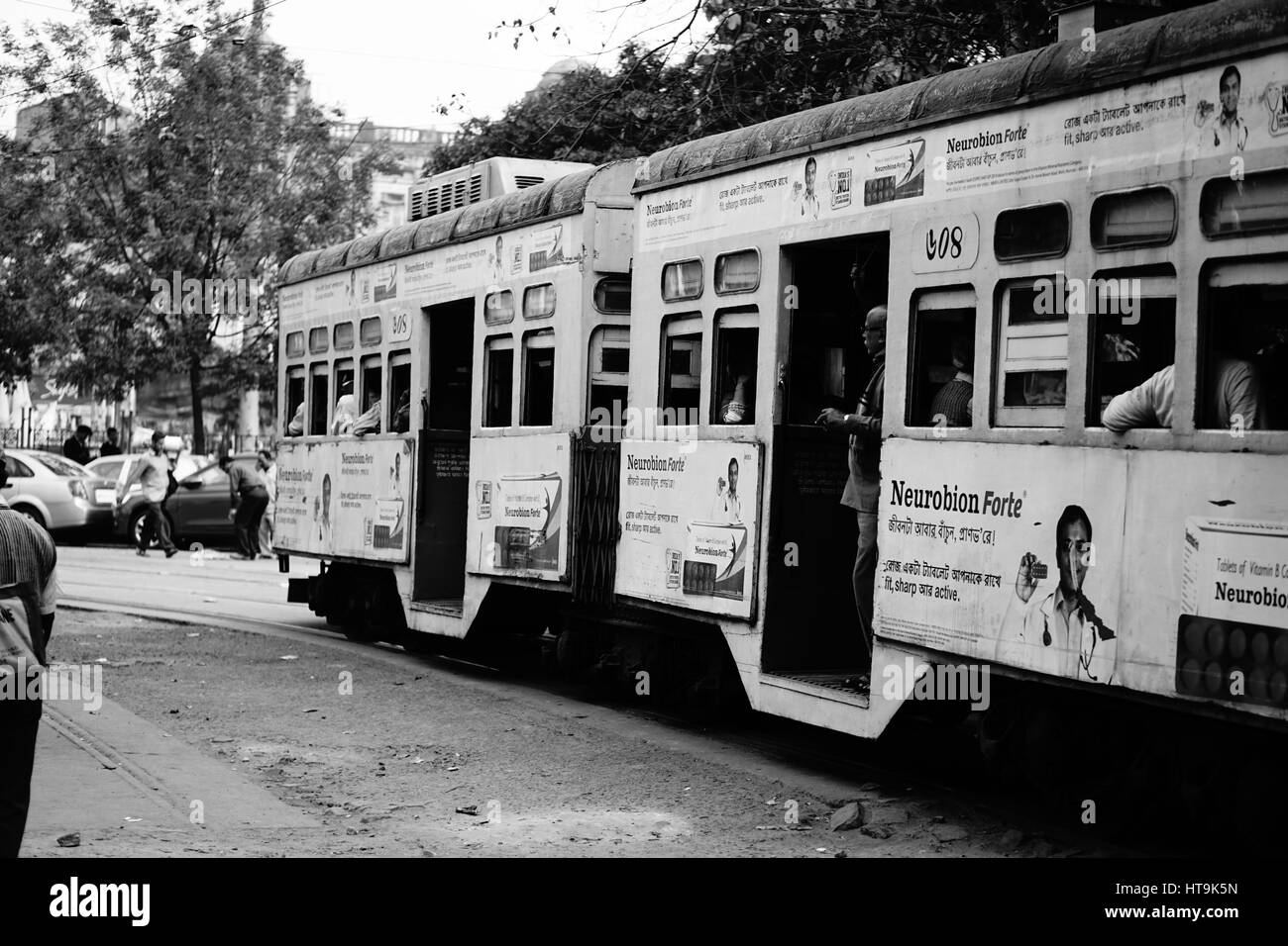 Black and White pic of Tram in Kolkata (India) - Stock Image