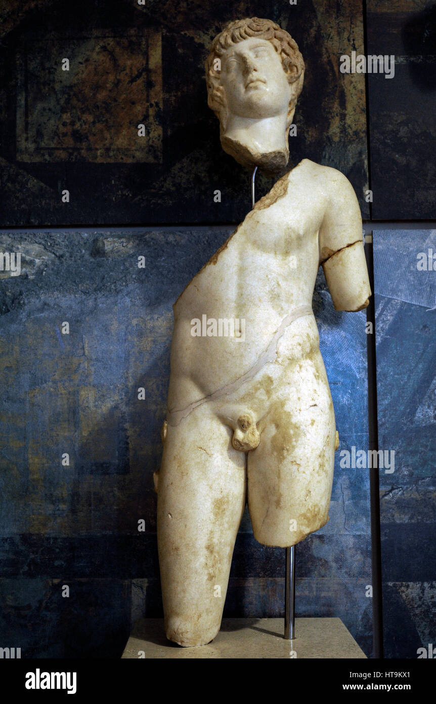 Statue of Antinous (111-130 AD). Bithynian Greek youth and favorite or lover of emperor Hadrian. Deified after. - Stock Image