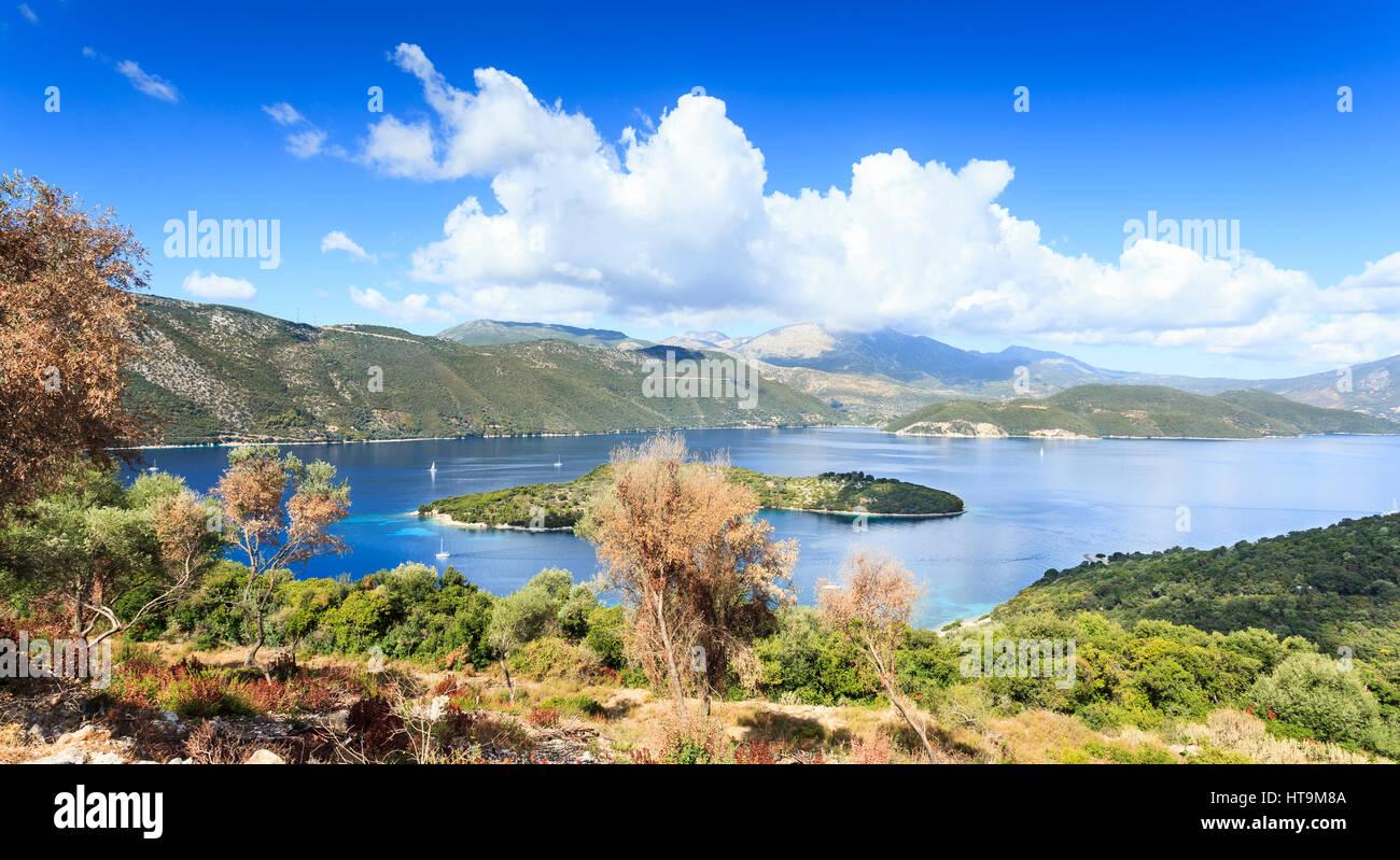 West coast of Meganissi looking towards Lefkas, Greece - Stock Image