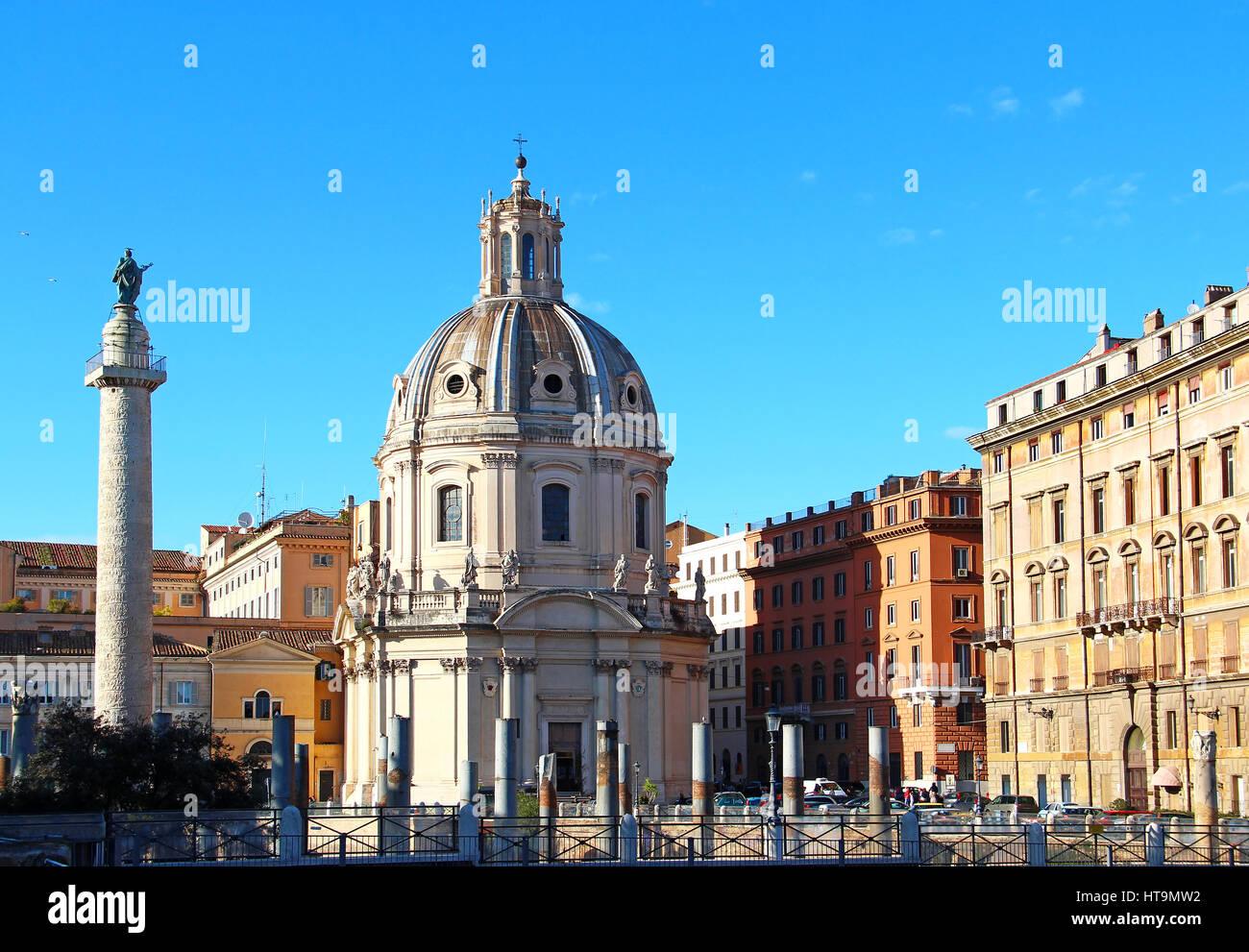 Santa Maria di Loreto church and Trajan column, Rome, Italy - Stock Image