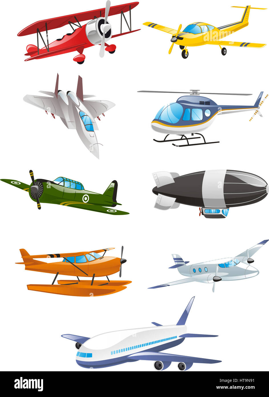 Airplane collection, with aircraft, airbus, airliner, large gasbags, airship, fixed wing aircraft, monoplane, biplane, - Stock Image