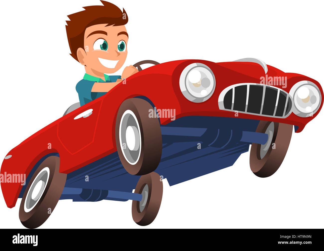 Little Boy Driving Red Sports Car Vector Illustration Cartoon Stock