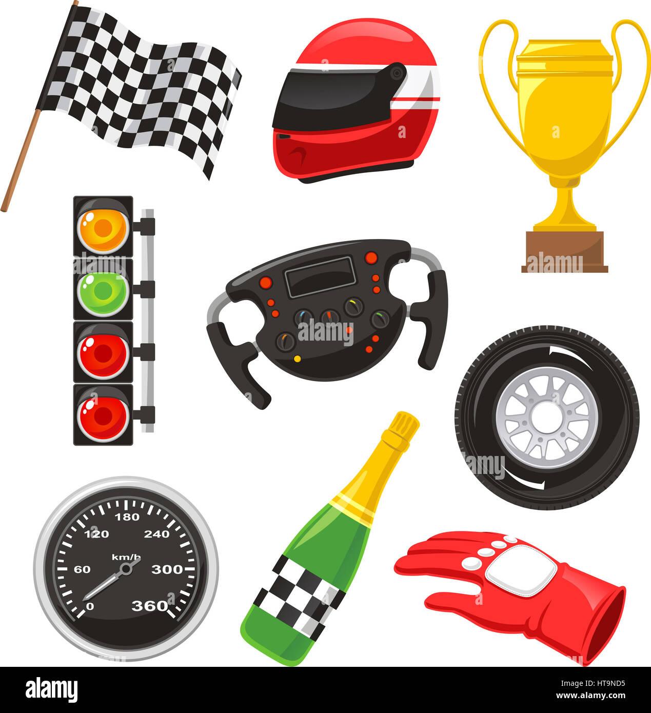 F1 race car icons, with race helmet, f1 flag, f1 ...