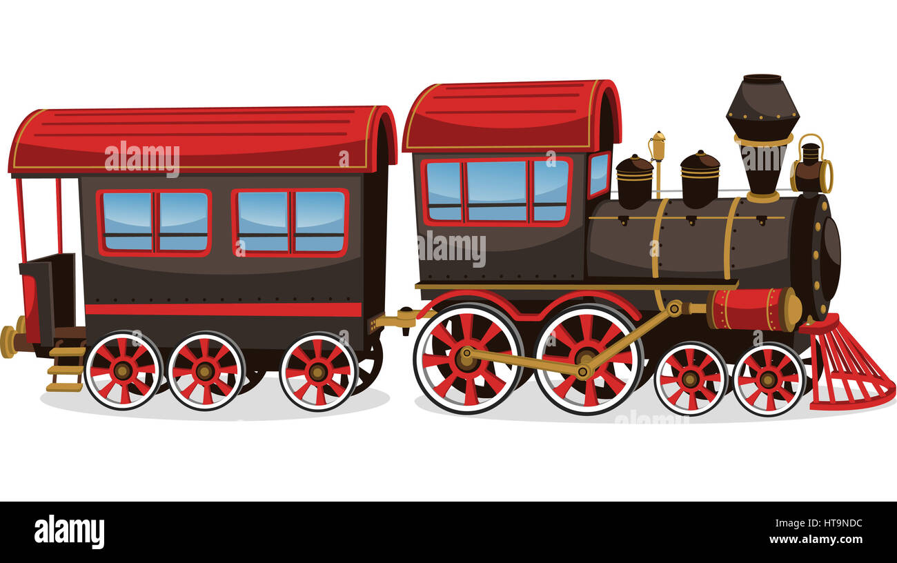 Old steam train, red and brown vector illustration cartoon. - Stock Image