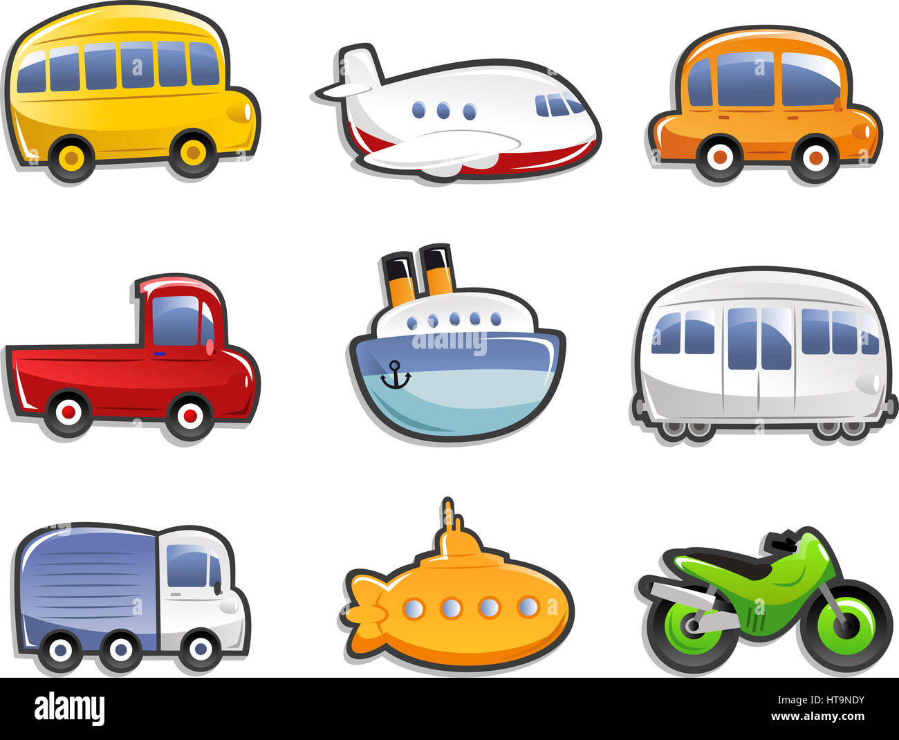 Transportation Icons, With Bus, Plane, Car, Truck, Lorry