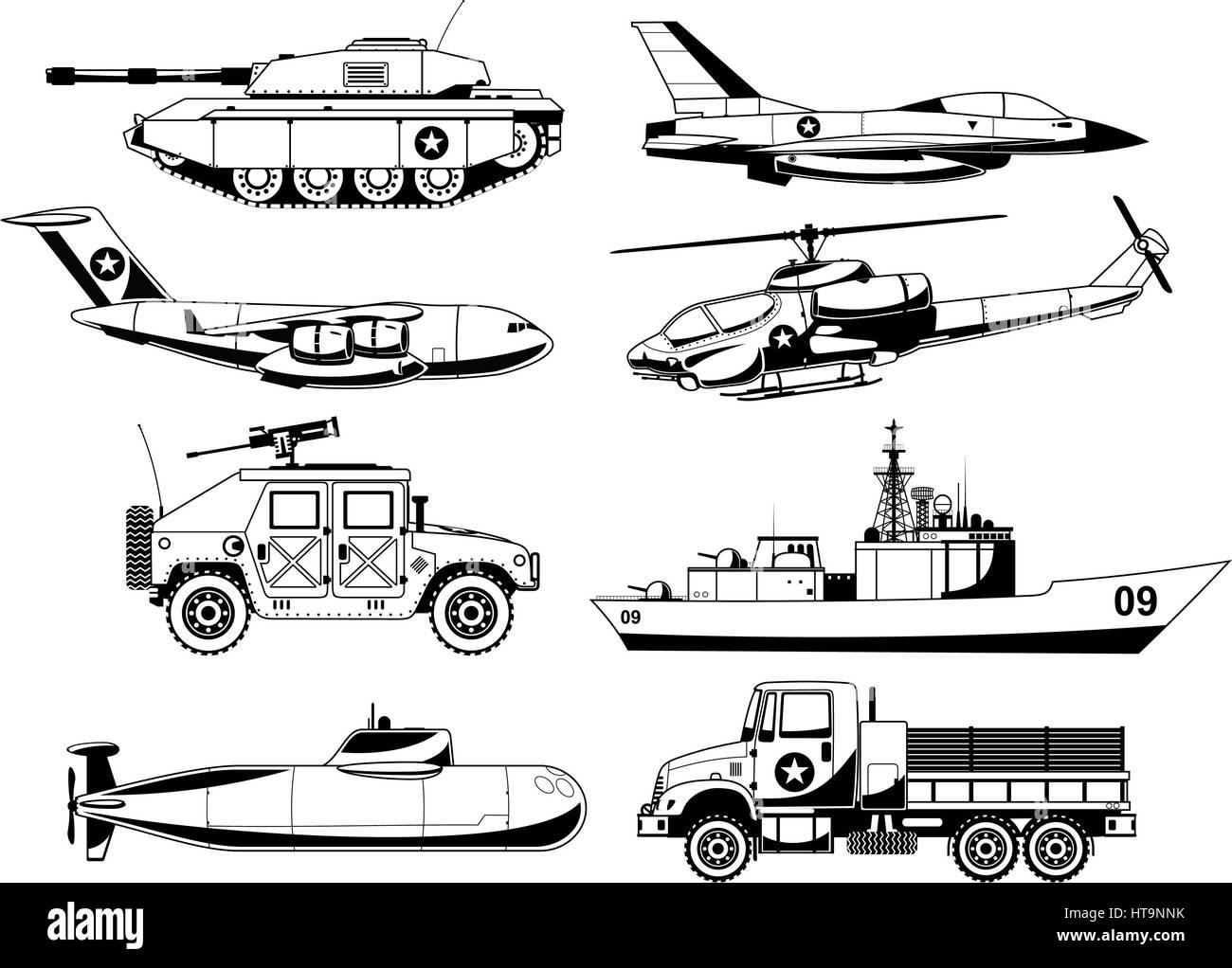 War Military Vehicles Vector Illustration. - Stock Image