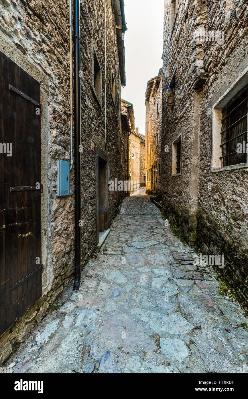 Italy Friuli Dolomiti Friulane natural Park Valcellina - The village of Casso Stock Photo