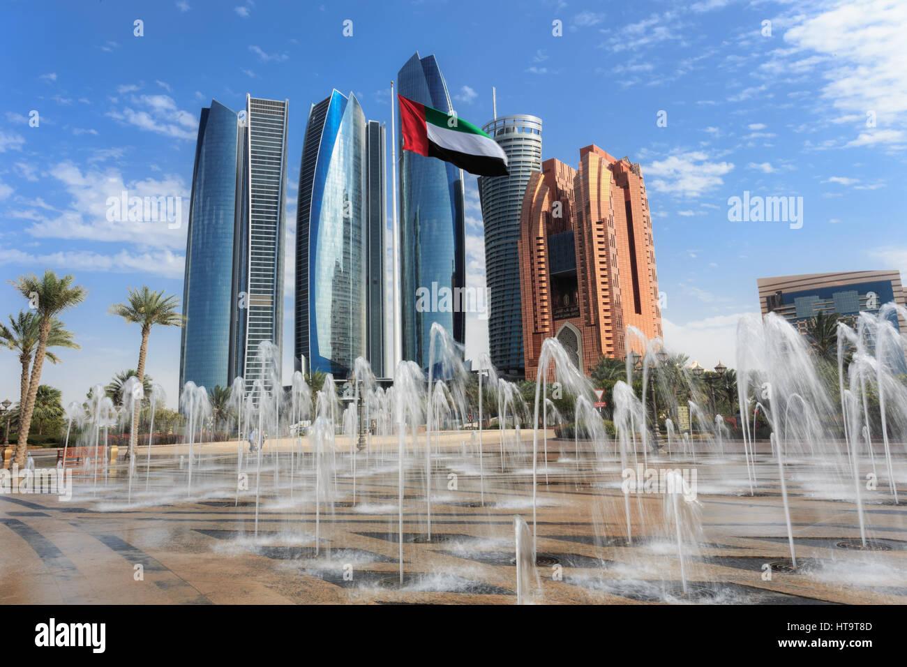Etihad Towers buildings in Abu Dhabi, United Arab Emirates - Stock Image