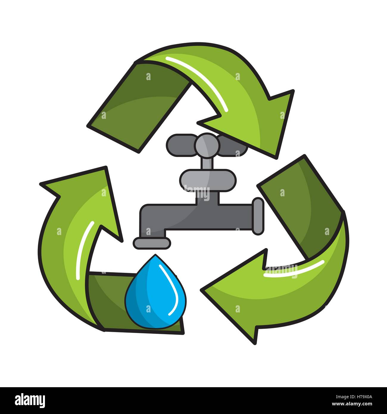 reduce and save water icon - Stock Image
