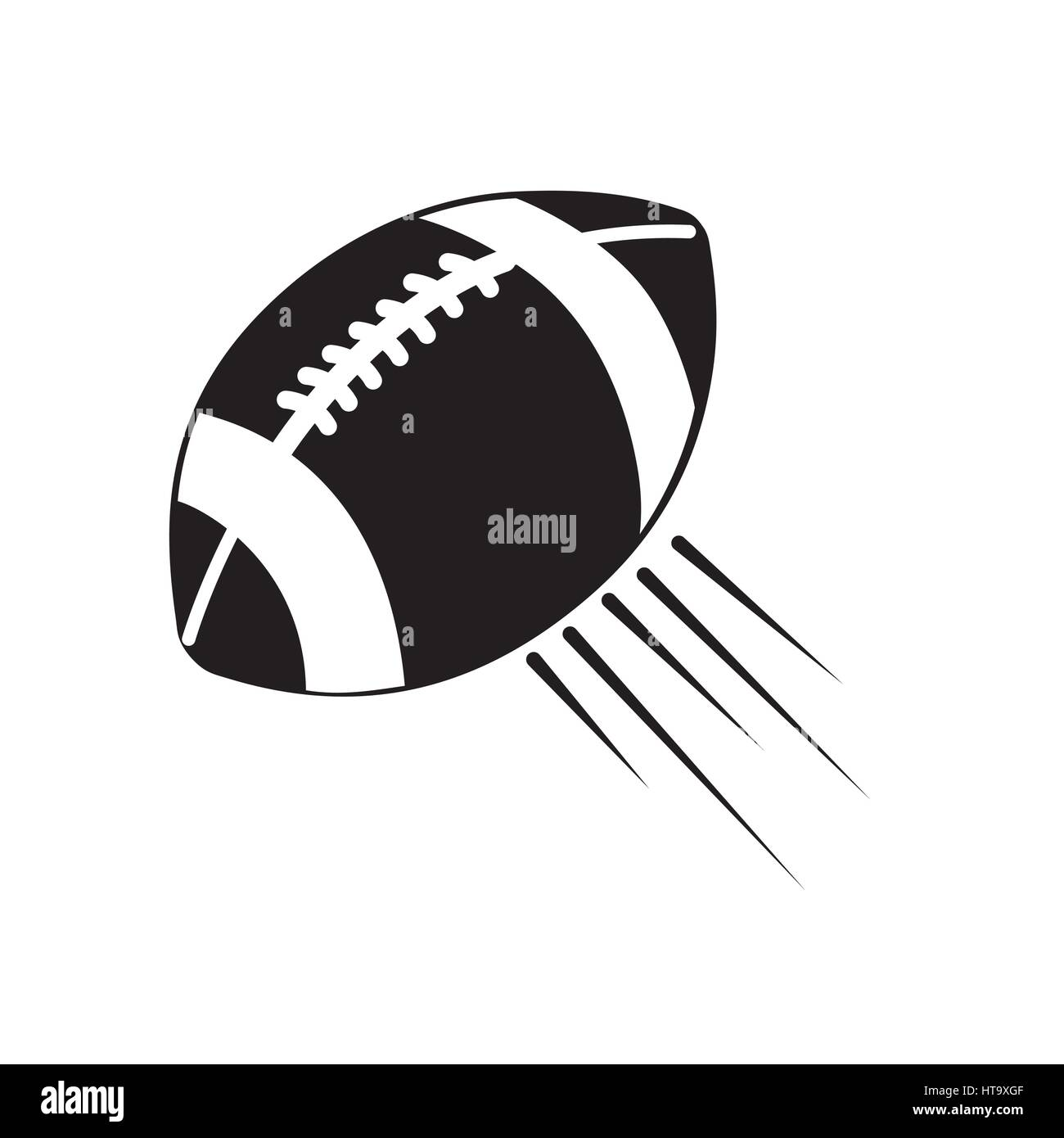 contour american football and his ball icon Stock Vector