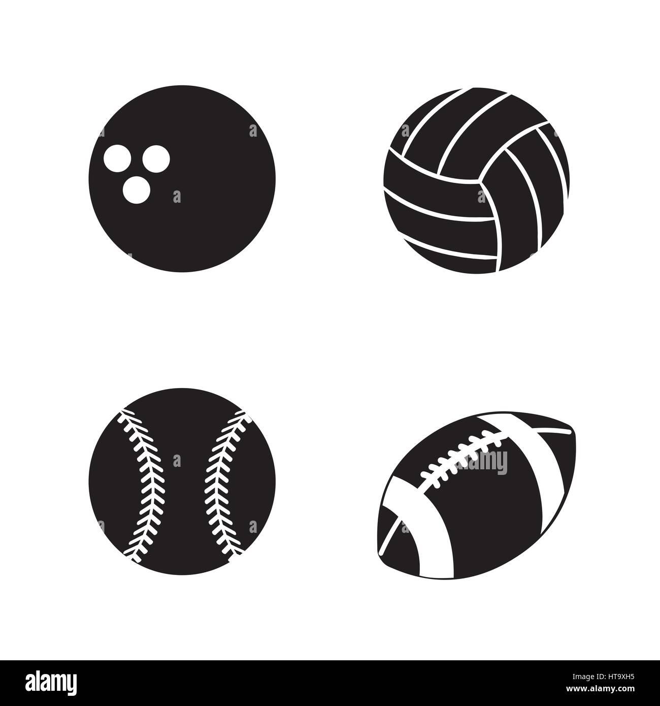 contour diferents plays balls icon - Stock Image