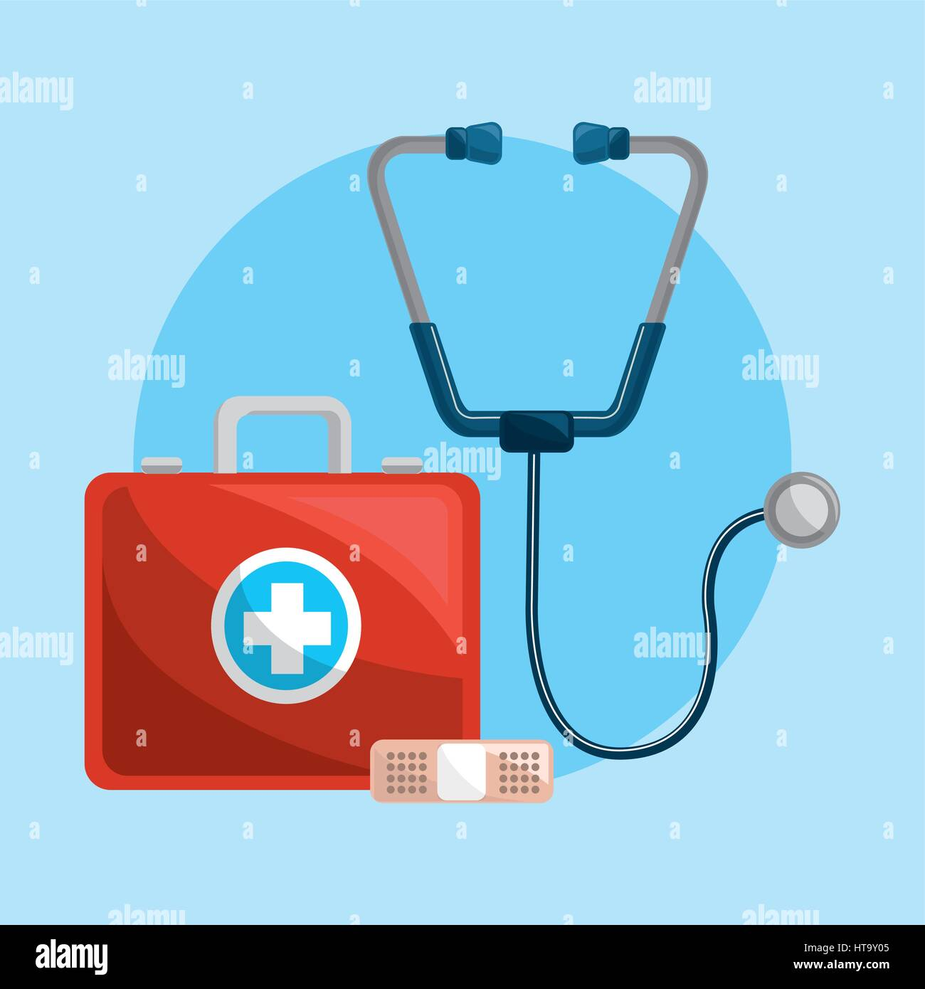 Color Healthcare Stethoscope And Band Aid Icon