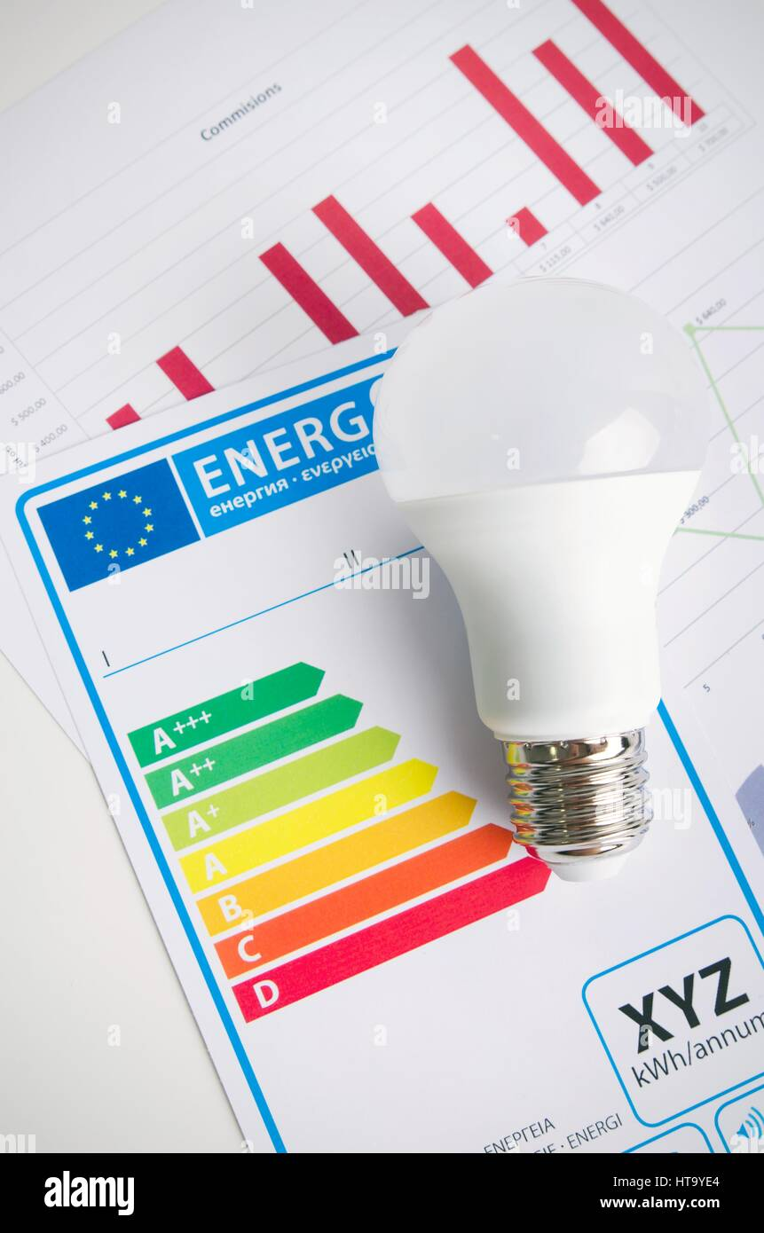 LED light bulb on energy efficiency chart. Economic concept - Stock Image