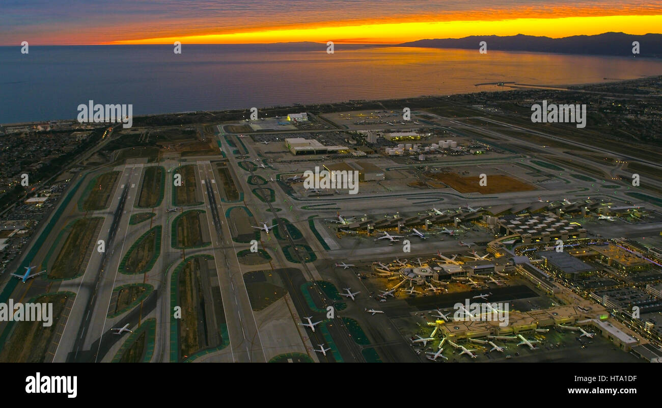 aerial view of LAX, Los Angeles International airport - Stock Image