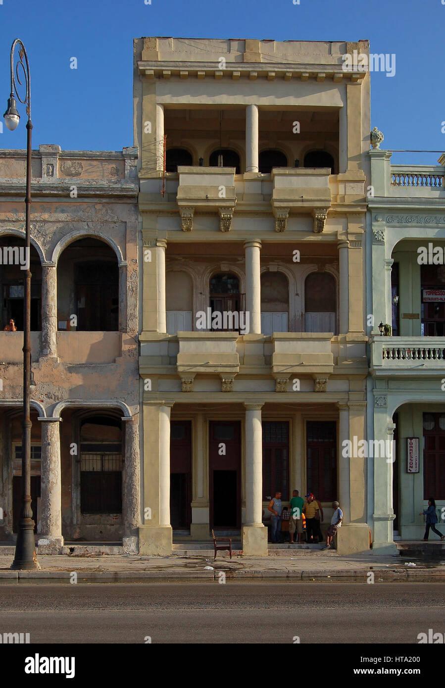 Seafront Residence along El Malecon, Havana, Cuba - Stock Image