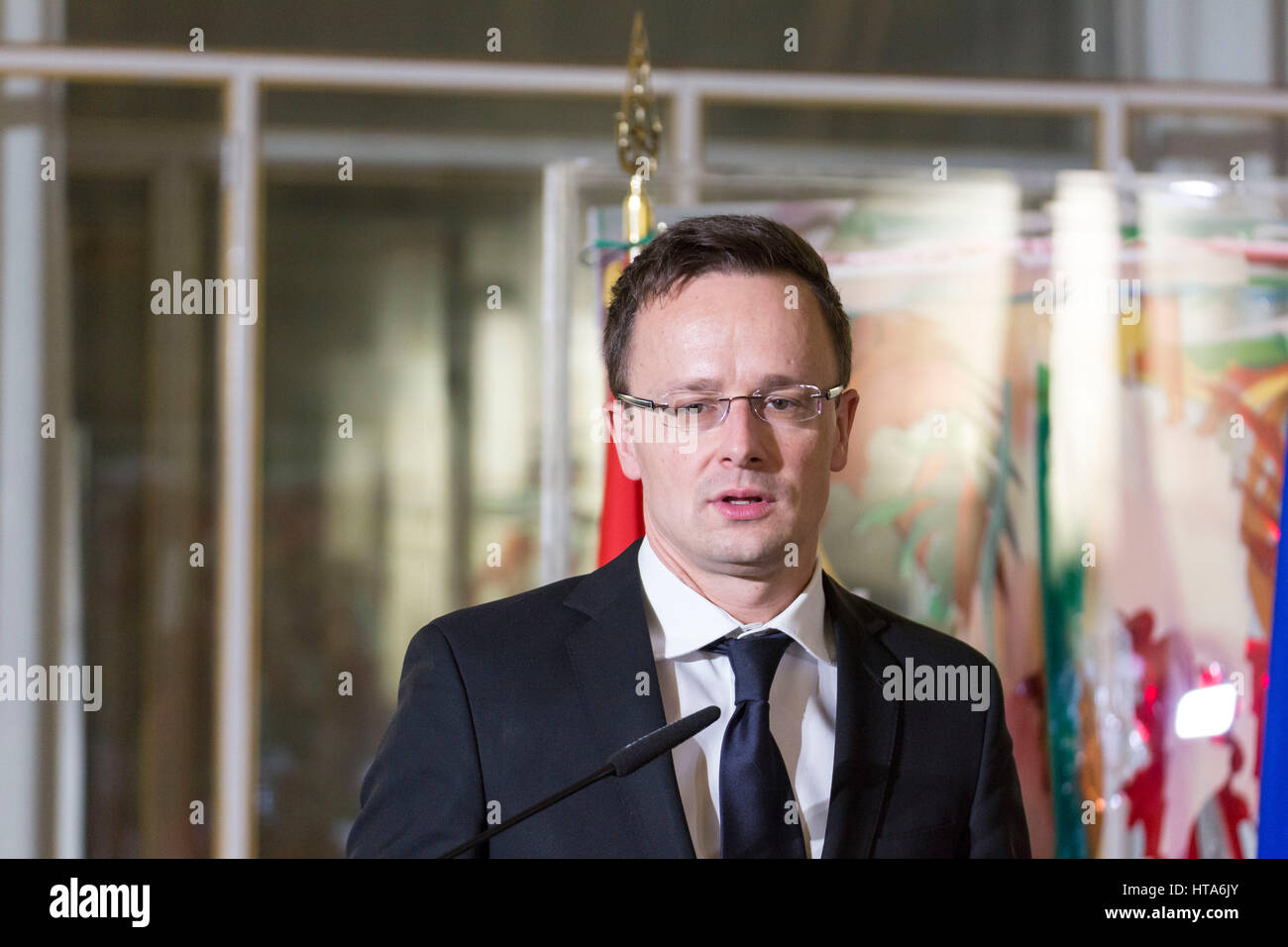 Rome, Italy. 08th Mar, 2017. Italian Foreign Minister Anglelino Alfano and Hungarian Foreign minister Péter - Stock Image