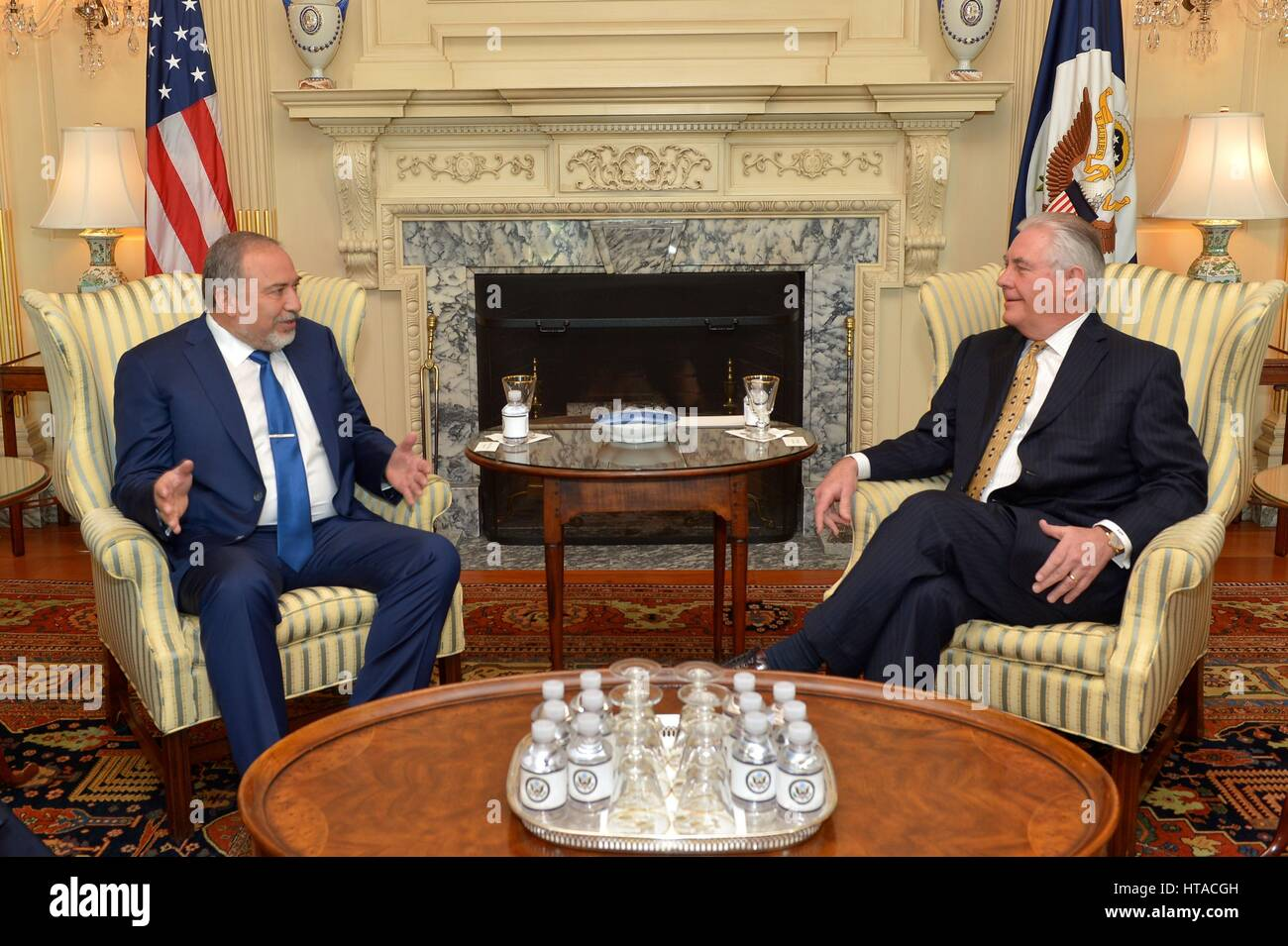 Washington DC, USA. 8th March 2017. US Secretary of State Rex Tillerson meets with Israeli Minister of Defense Avigdor - Stock Image