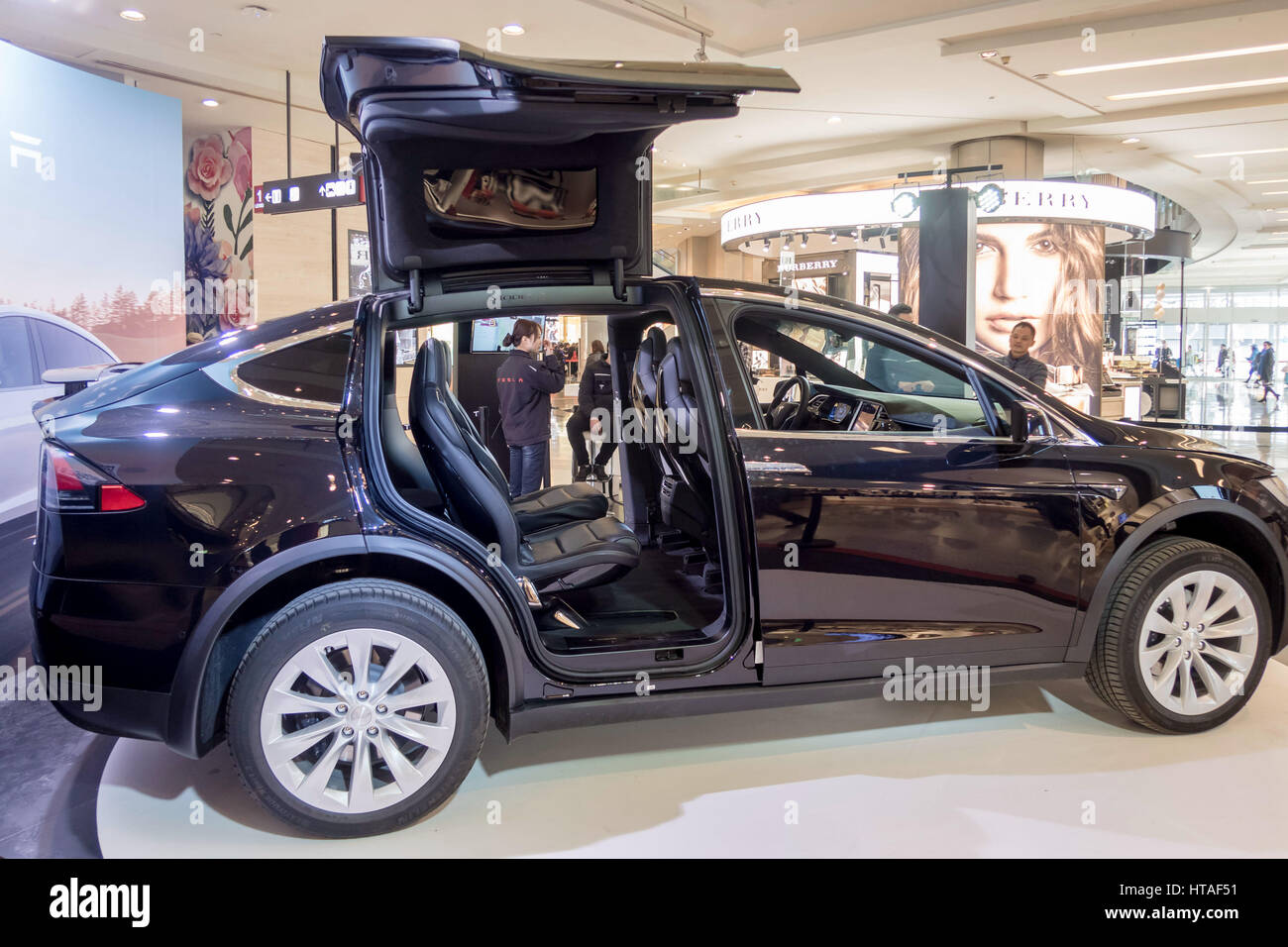 Shanghai China 9th Mar 2017 A Black Tesla Model X Shows At A