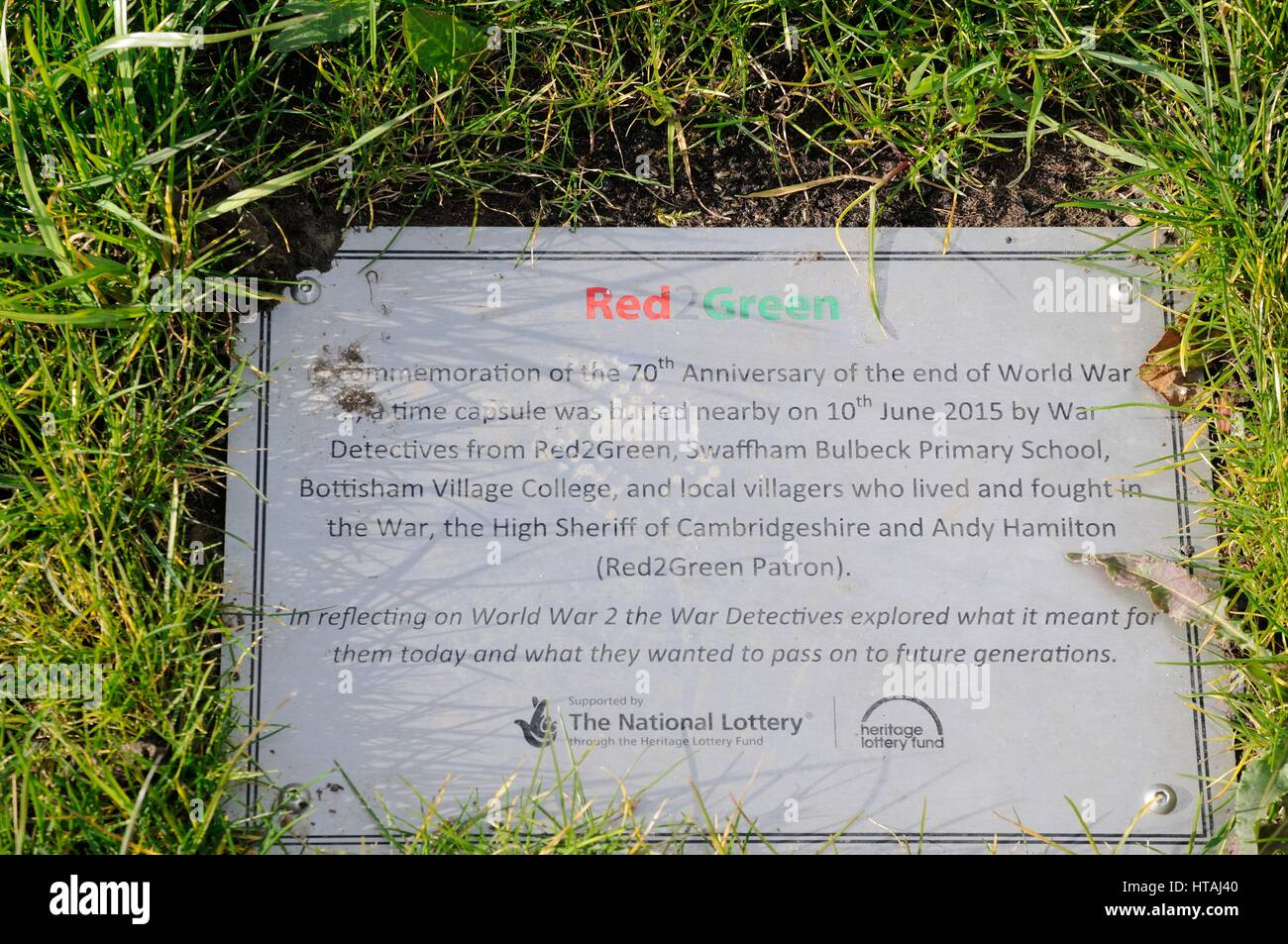Time Capsule, Swaffham Bulbeck, Cambridgeshire,commemorating the 70th anniversary of the end of World War II Stock Photo