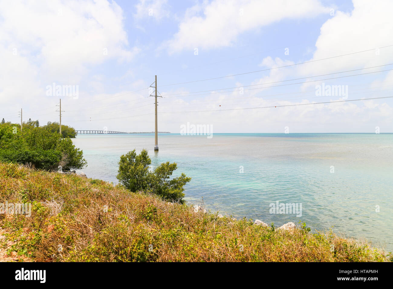 View from the Overseas Highway on the coastline of the Florida Keys. Stock Photo