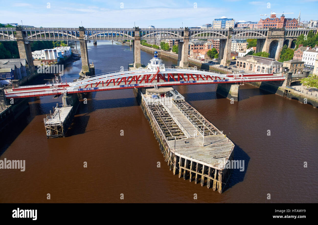 NEWCASTLE UPON TYNE, ENGLAND, UK - AUGUST 13, 2015: The Swing & High Level bridges over the river Tyne at Newcastle. Stock Photo