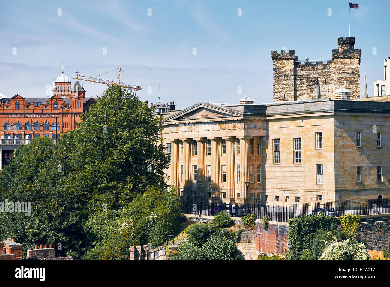 NEWCASTLE UPON TYNE, ENGLAND, UK - AUGUST 13, 2015: Views of the old Law Courts and Newcastle's Castle Keep. Stock Photo