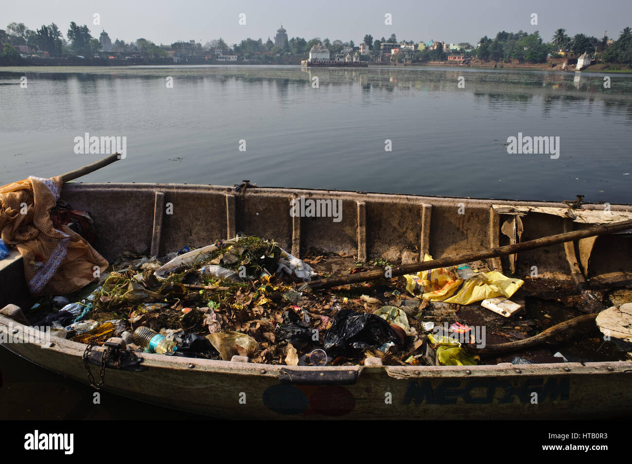 Cleaning up the lake 'bindu sagar' ( India). In the background, the Lingaraj temple is visible. - Stock Image