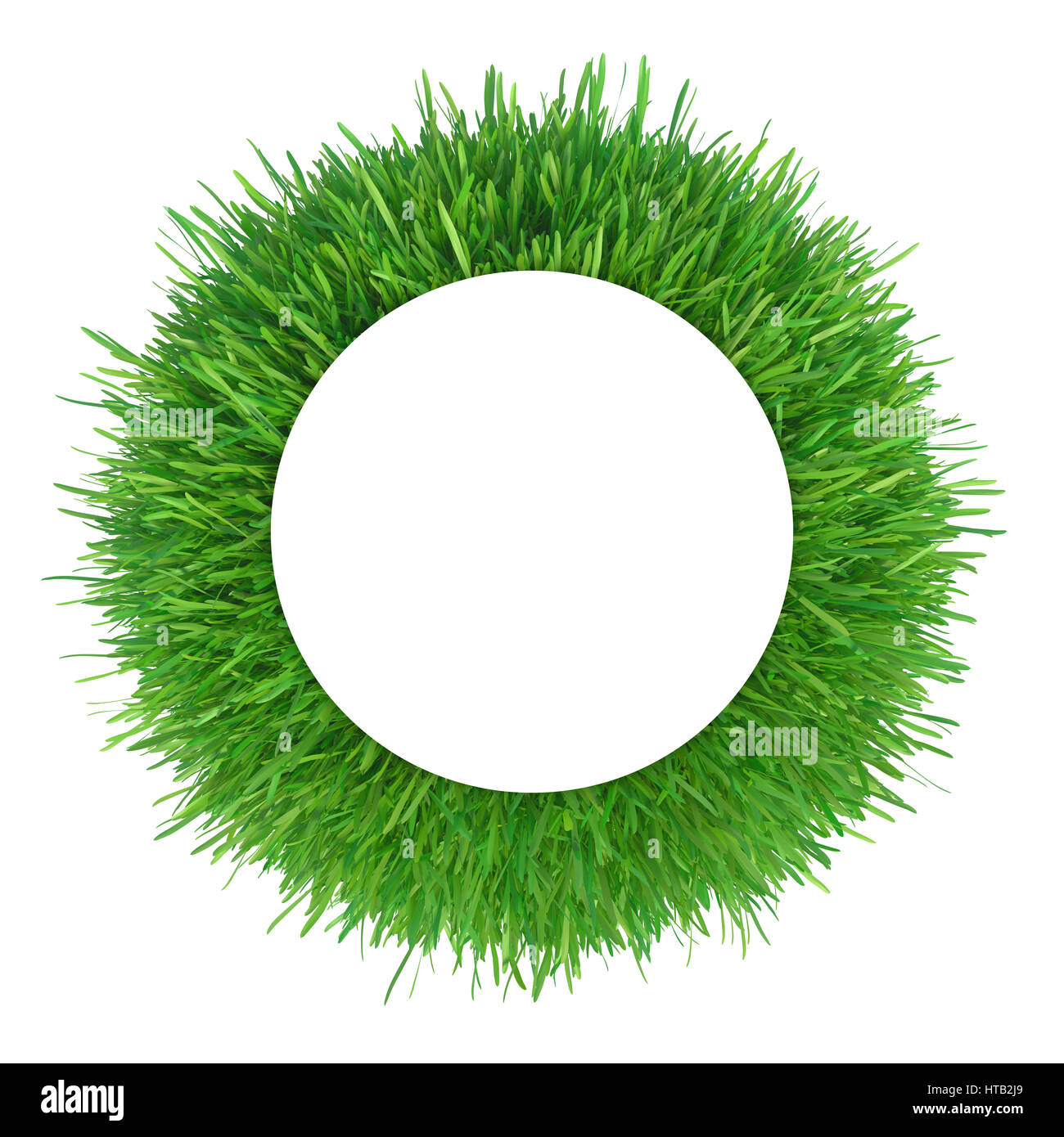 Green grass frame with copy-space. Circle border template isolated ...