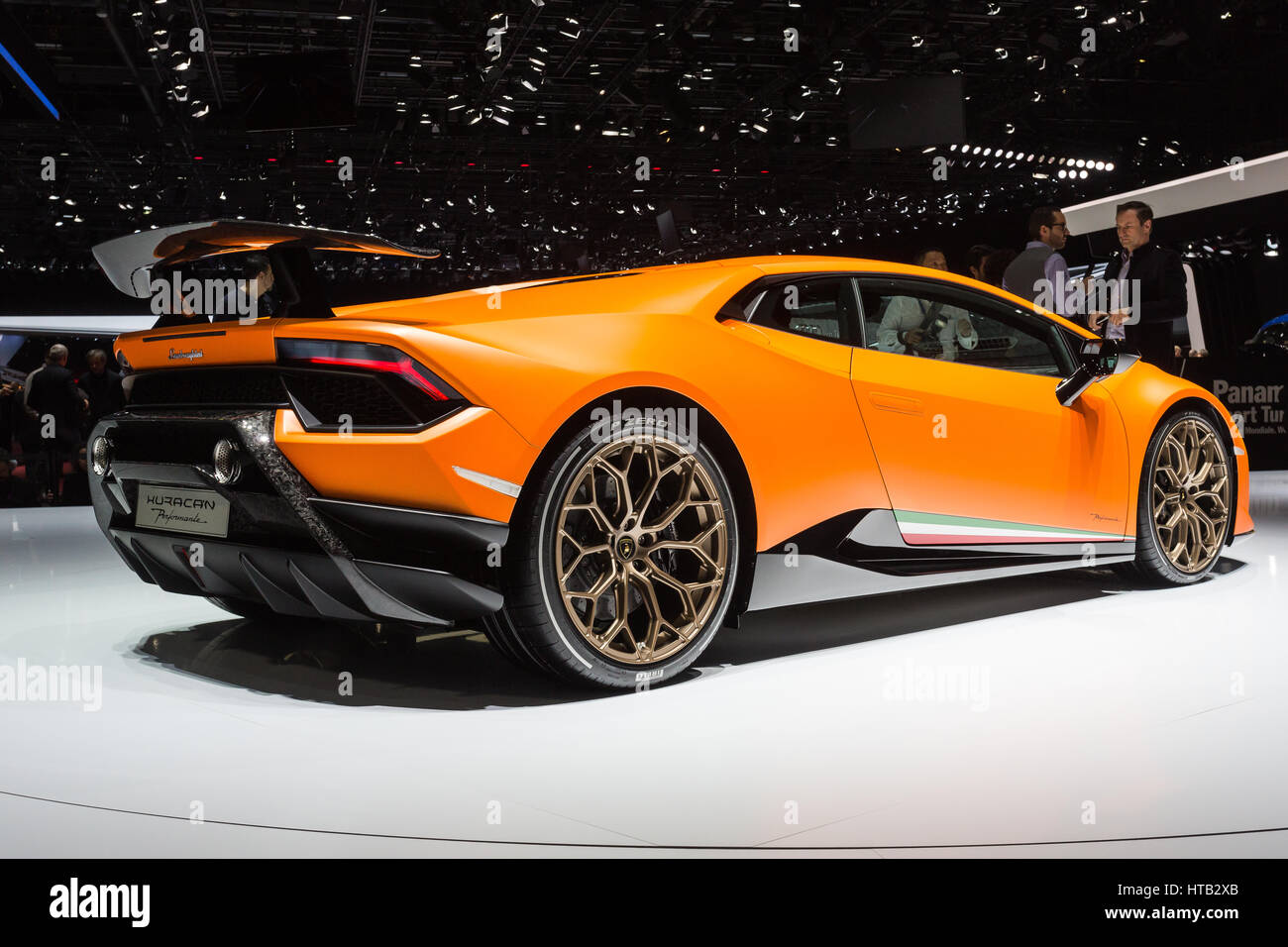 The Lamborghini Huracan Perfomante At The 87th 2017 Geneva International  Motor Show In Palexpo, Switzerland