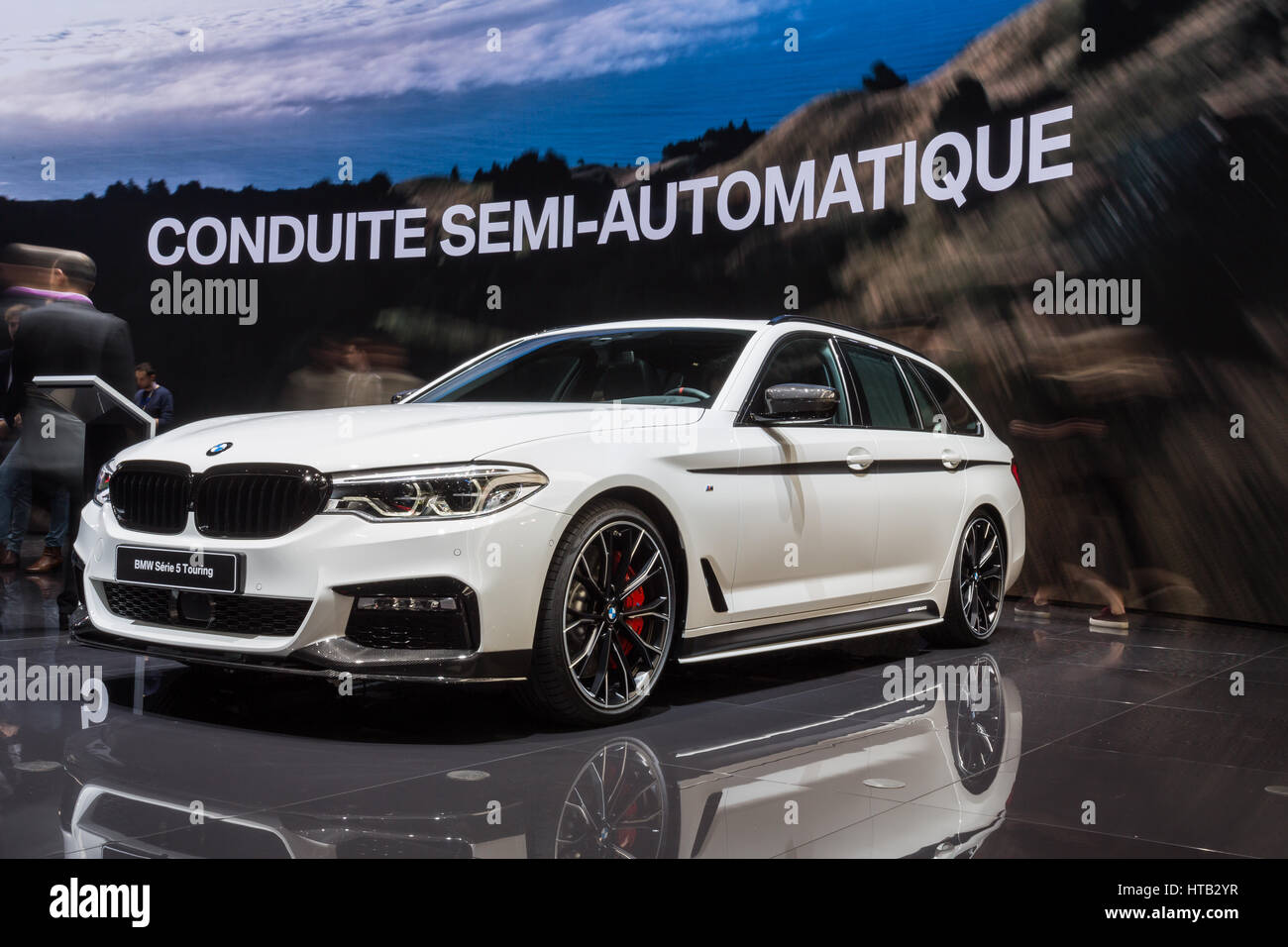 The BMW Série 5 touring at the 87th 2017 Geneva International Motor Show in Palexpo, Switzerland. - Stock Image