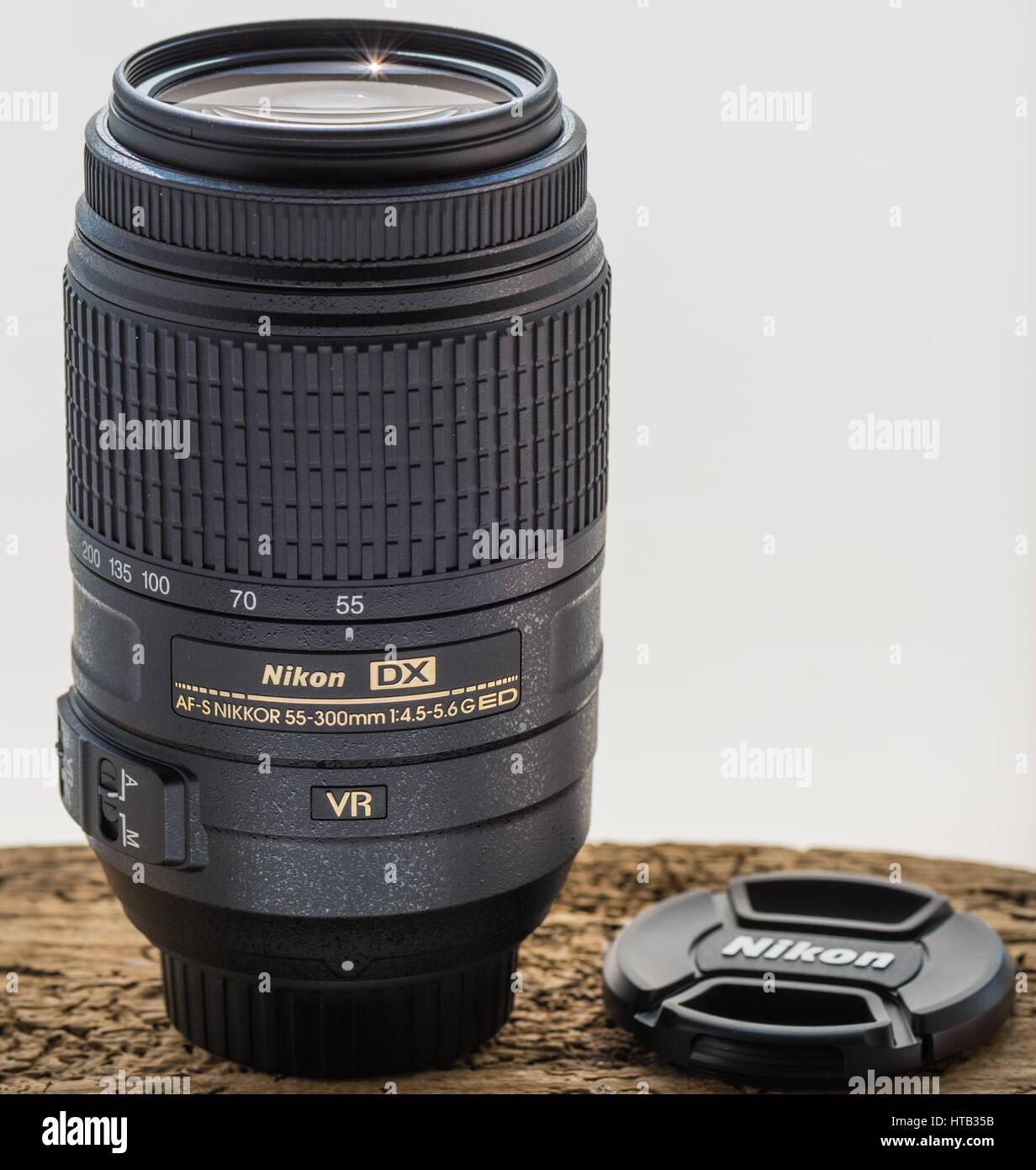 Nikon AF-S 55-300mm DX lens. - Stock Image