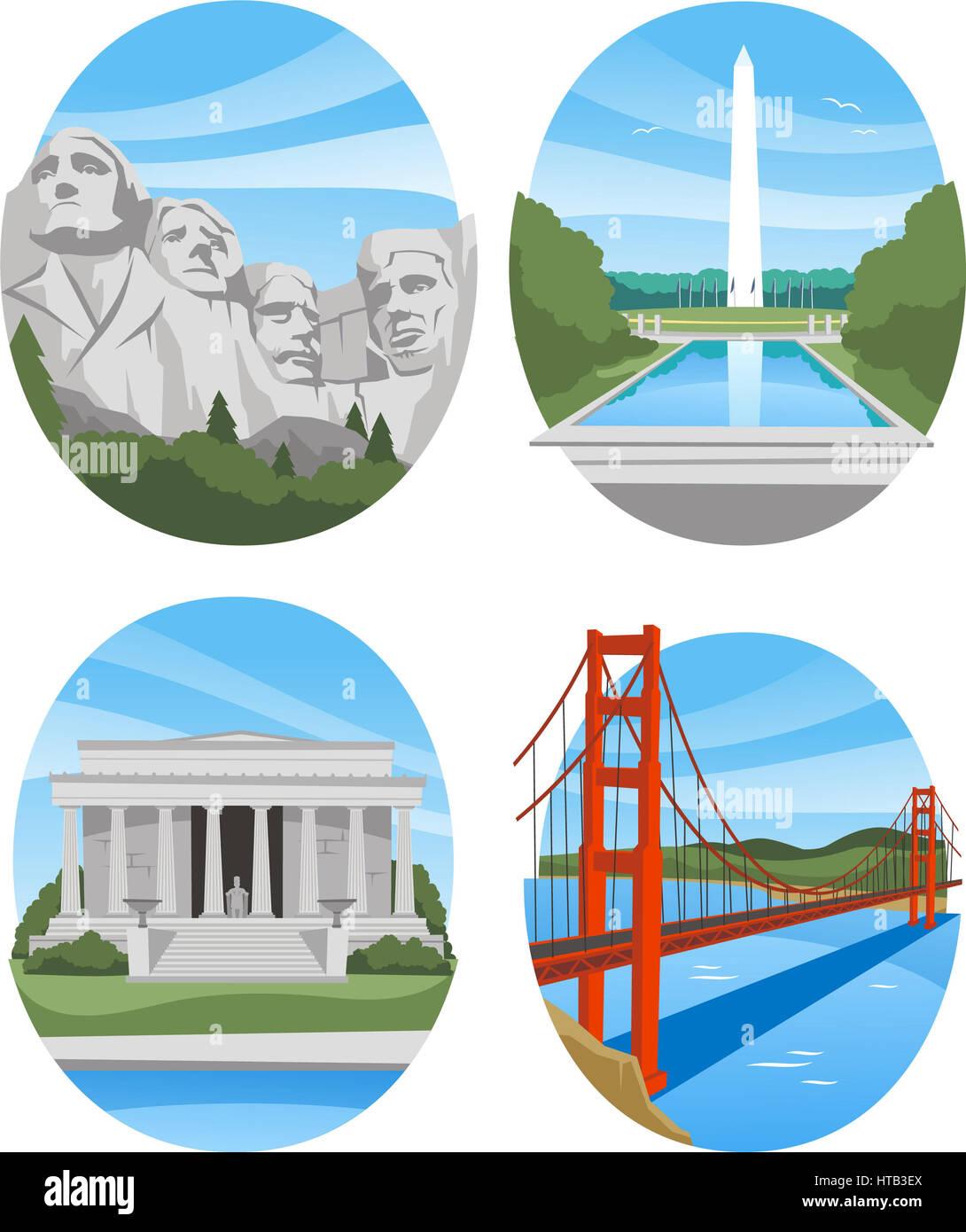 United states landmark buildings - Stock Image
