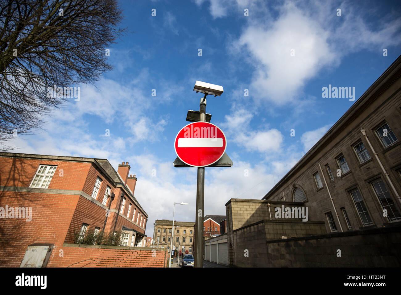 Road sign - no entry . Bolton Town Centre, Bolton , England , UK - Stock Image