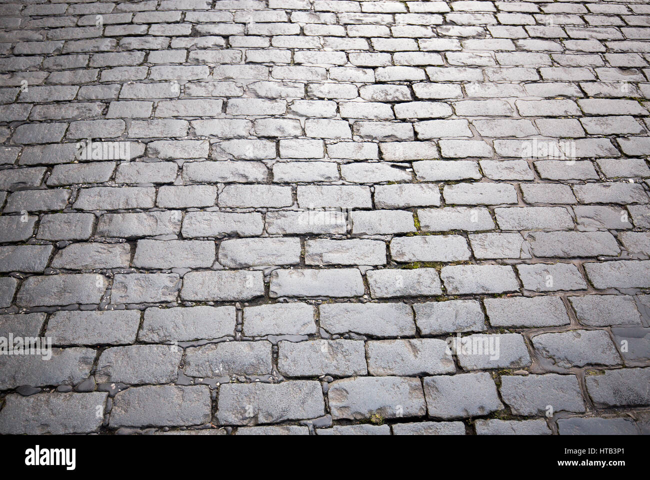 Cobbled street in Bolton Town Centre, Bolton , England , UK - Stock Image