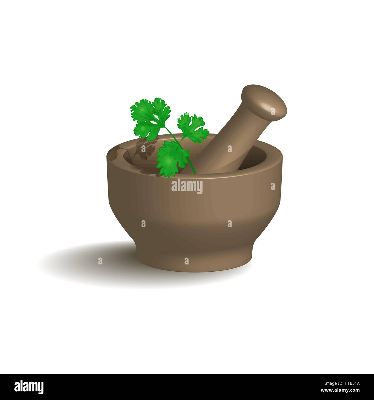 Mortar and Pestle with herbs. Vector illustration. Stock Vector