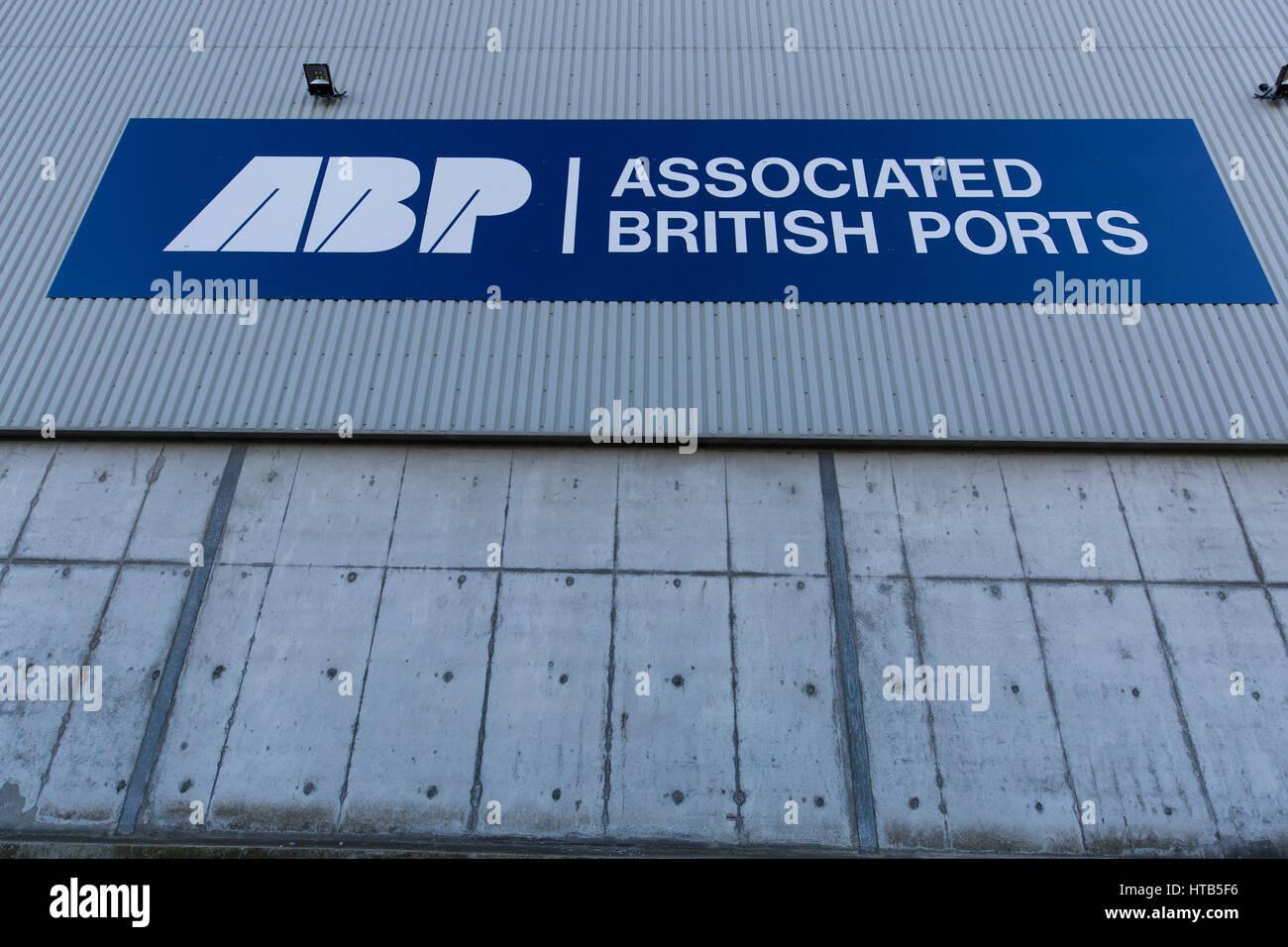 Associated British Ports signage at The Port of Garston. Stock Photo