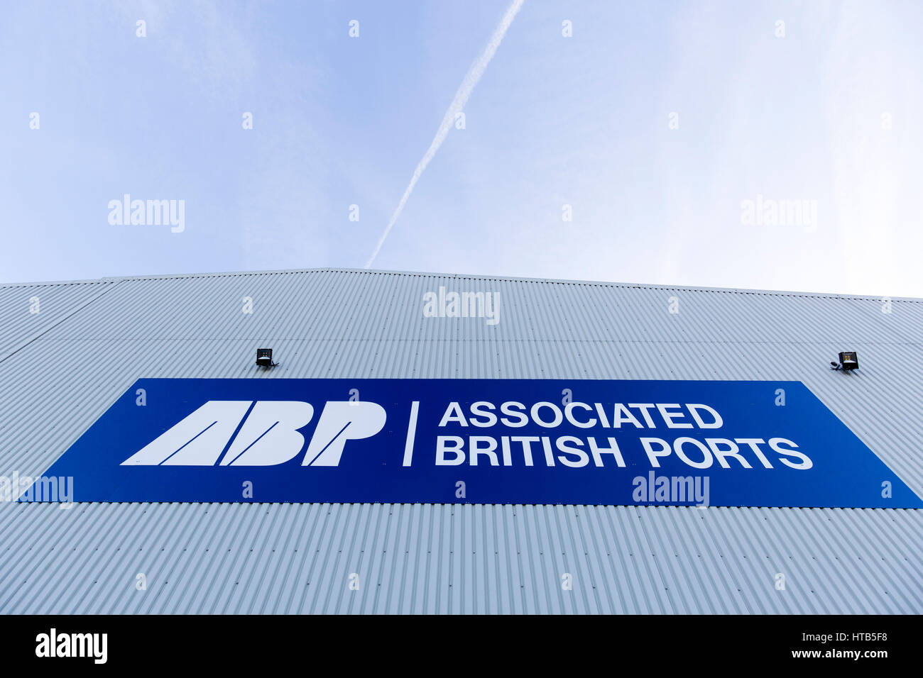 Associated British Ports signage at The Port of Garston. - Stock Image