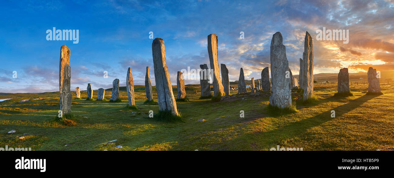 Megalithic standing stones of Callanish on the Isle of Lewis Scotland Stock Photo