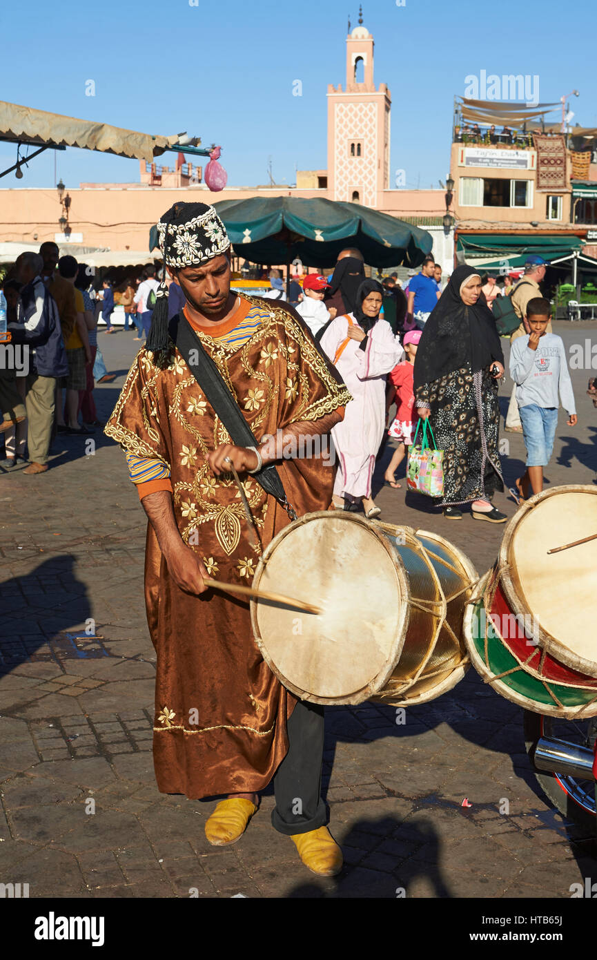 Musicians in the Jemaa el-Fnaa square in  Marrakech, Morocco Stock Photo