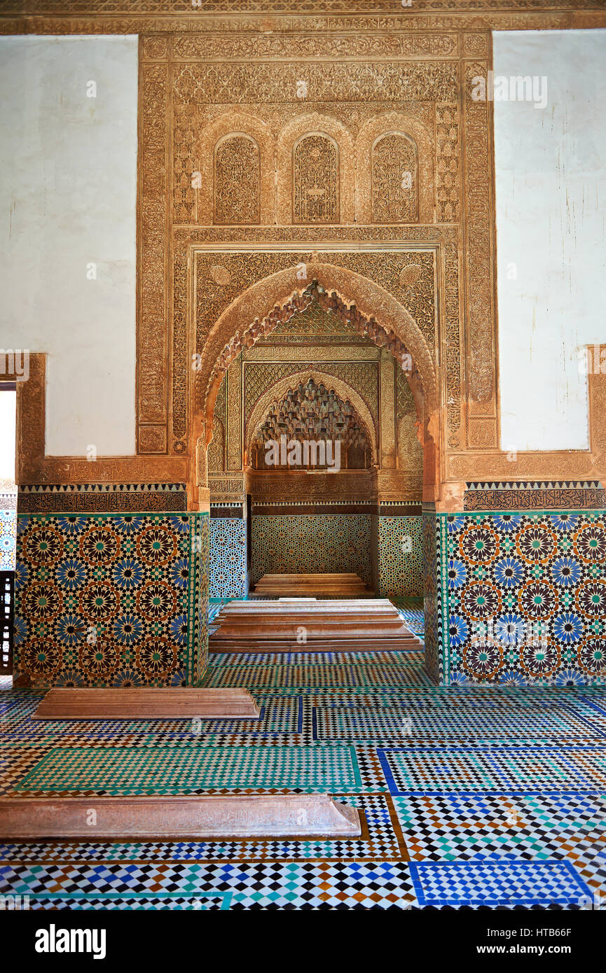 The arabesque zelige tiles and architecture of the Saadian Tombs the 16th century mausoleum of the Saadian rulers, - Stock Image