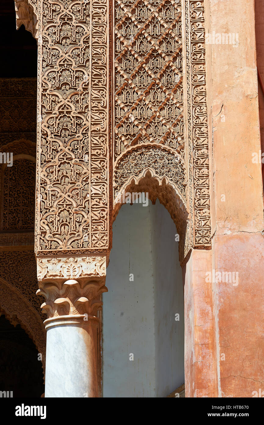 The arabesque mocarabe plasterwork  of the Saadian Tombs the 16th century mausoleum of the Saadian rulers, Marrakech, - Stock Image