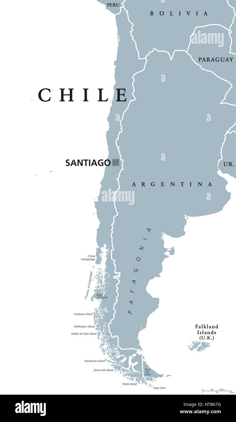 Chile Political Map With Capital Santiago National Borders And Stock Photo Alamy