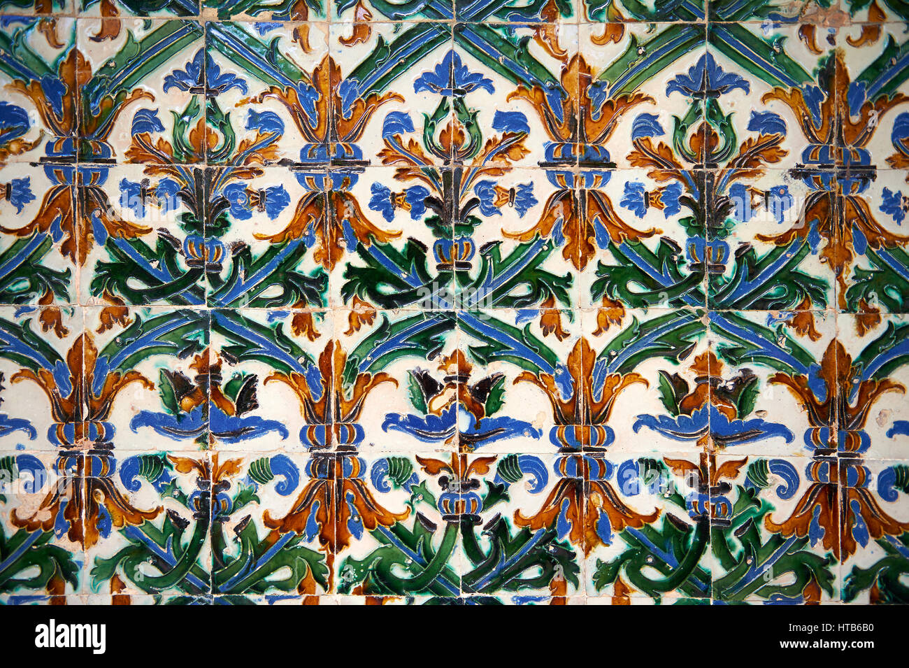 16th century Spanish Mudjar tiles from the Pavillion of Carlos V, Selivve Alcazar, Seville, Spain - Stock Image