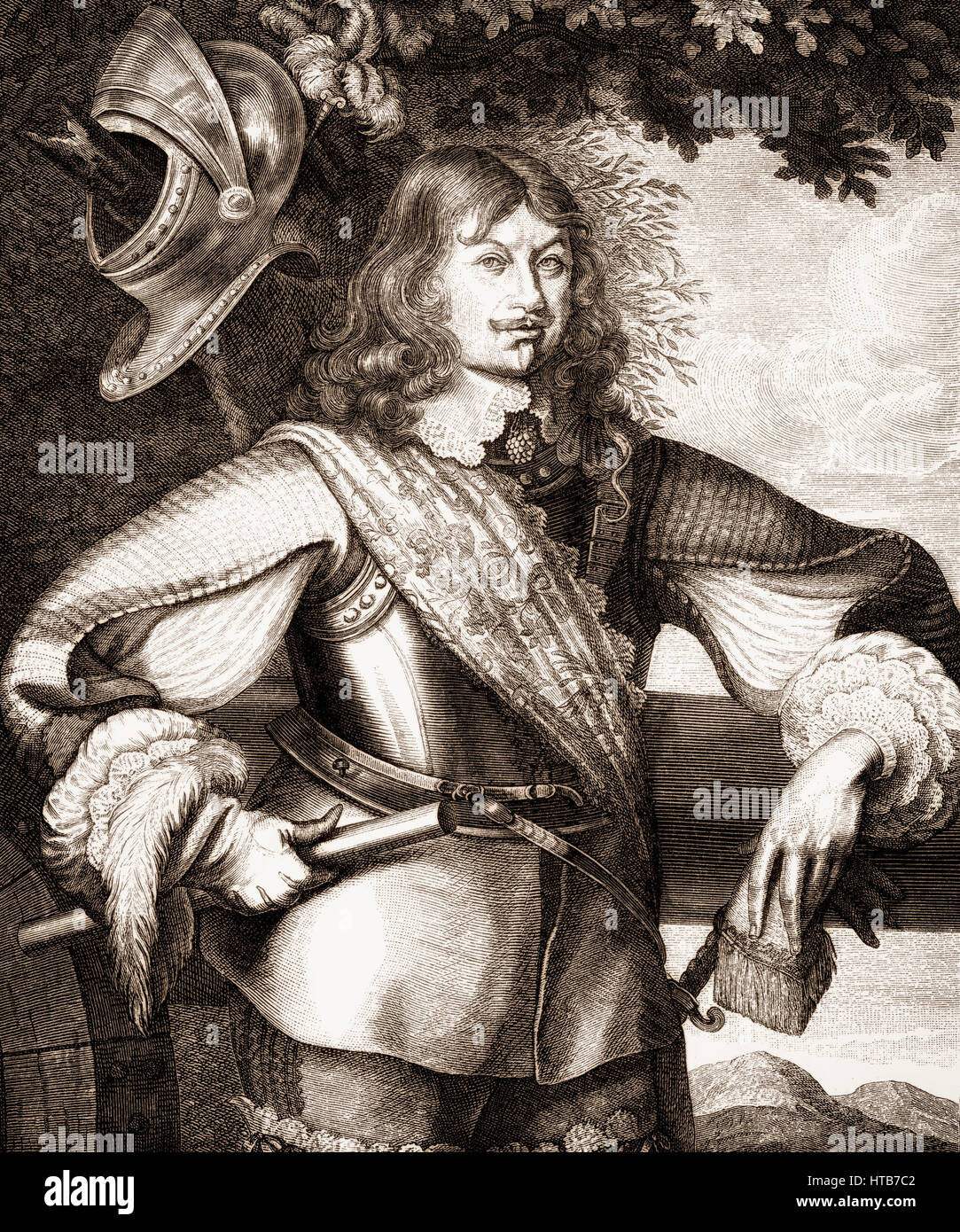 Carl Gustaf Wrangel, 1613 - 1676, a Swedish noble, statesman and military commander in the Thirty Years' War - Stock Image