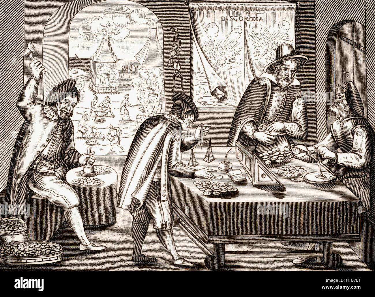 A leaflet on the Tipper and See-saw or Kipper und Wipper, German Financial Meltdown of 1621-23 - Stock Image