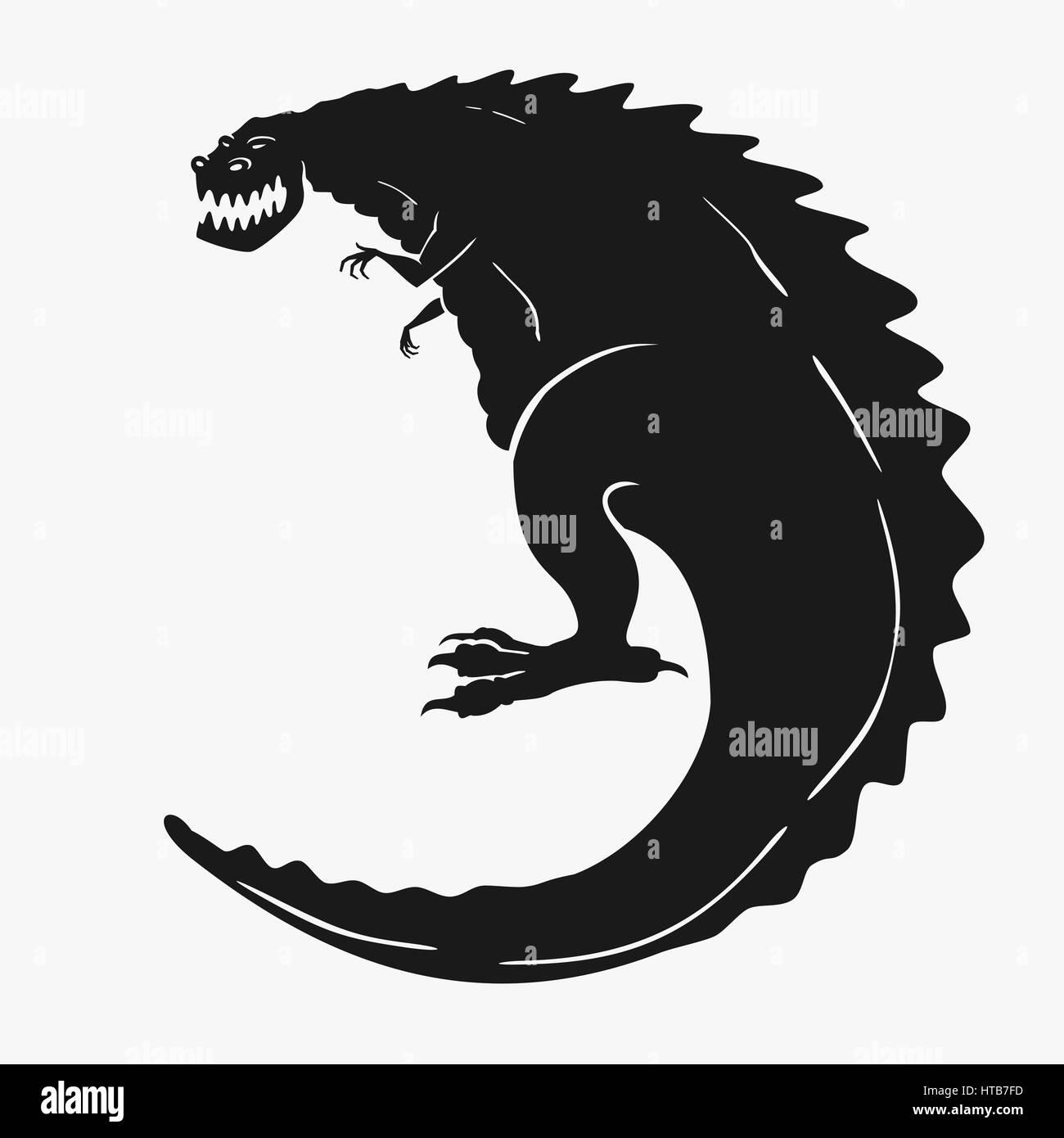 Vector Illustration of a dinosaur monster - Stock Image