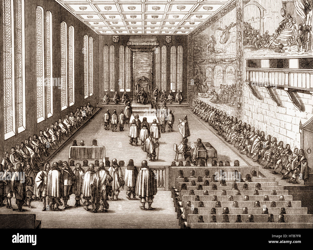 Seating plan for an inauguration of the Imperial Diet in the Regensburg Town Hall, Germany, 1640 - Stock Image